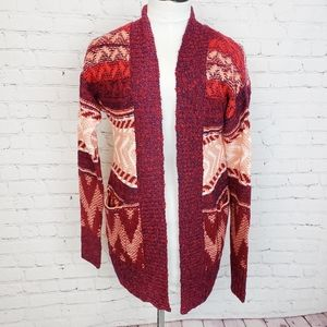 Mossimo|Red / Pink Tribal Knit Open Cardigan